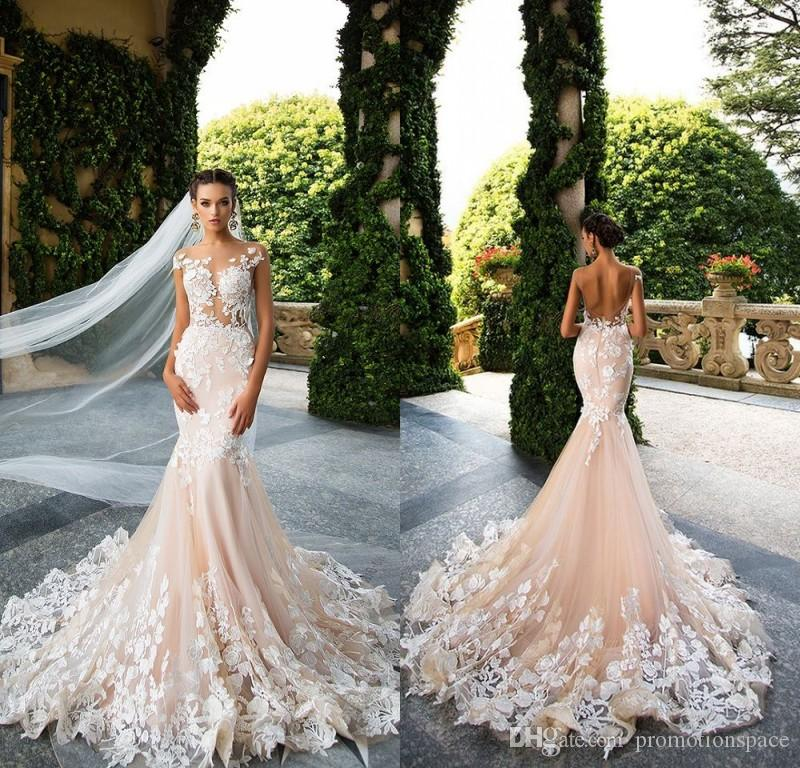 65e2787aa0d4c Milla Nova 2019 Designer Mermaid Wedding Dresses Illusion Neck Capped  Sleeves Full Lace Appliqued Backless Bridal Dress