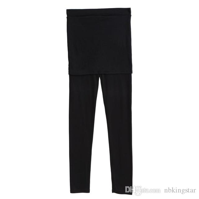 Women Solid Cotton Skirt Legging with Full length footless Pleated Thick Leggings Stripped Stretch Winter Skinny Pants