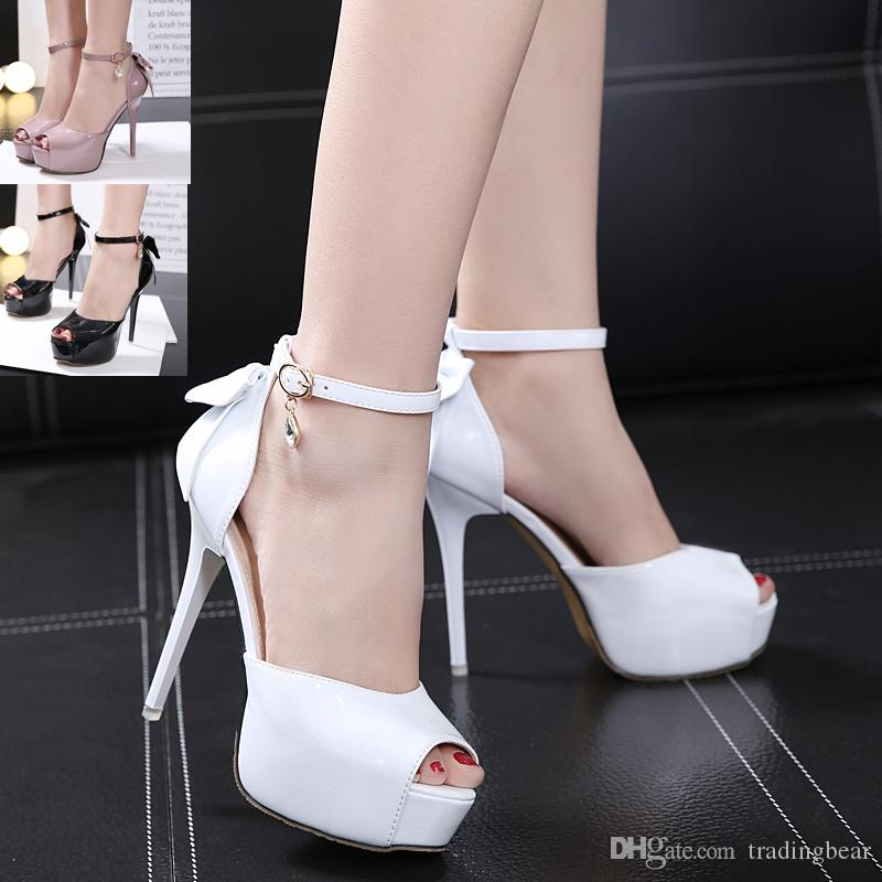 ab4fe65b0f7c 12.5cm Sweet White Bowtie High Heel Platform Peep Toe Pumps Bridal Wedding  Shoes Black Pale Pink Size 34 To 39 Italian Shoes Summer Shoes From  Tradingbear