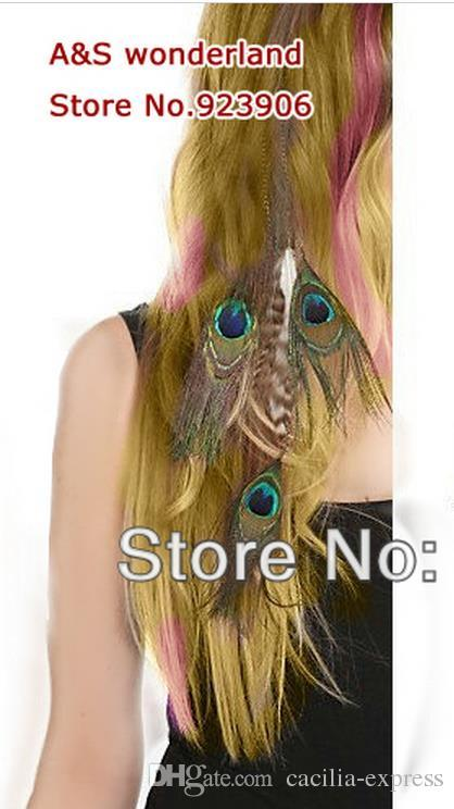 peacock feathers 3layer peacock grizzly feather peacock hair extension clip in hair extensions hot sale