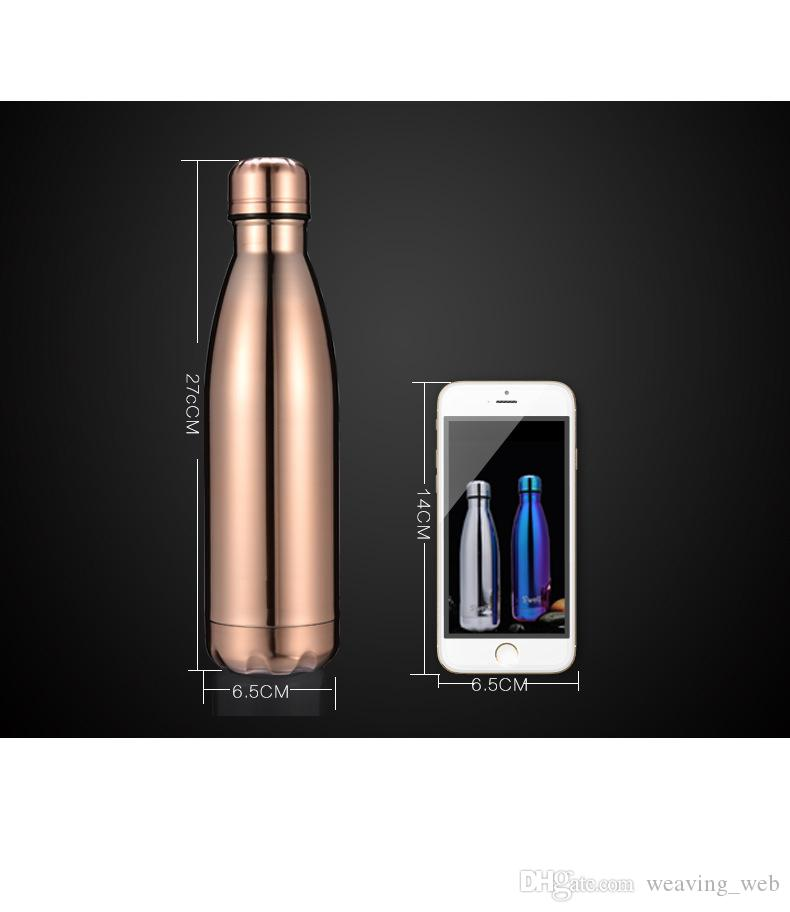 WITH LOGO Cola Shaped bottle Insulated Double Wall Vacuum high-luminance Water Bottle 17oz 500ml Creative Thermos bottle Vaccum DHL