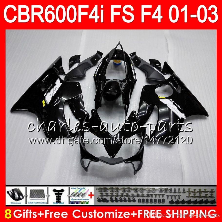 8Gifts HONDA nero lucido CBR 600 F4i 01-03 CBR600FS FS 28HM1 CBR600 F4i 2001 2002 2003 CBR 600F4i CBR600F4i 01 02 03 Carenatura