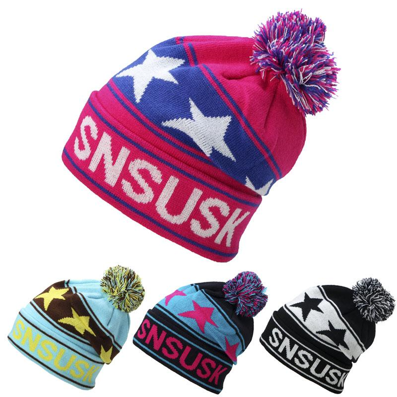 adde82a0928 2017 High Quality Winter Ski Hats Snowboard Warm Woolen Caps For Men Women  Star Hairball Female Beanies Hat Skull Caps Stocking Cap From Wzx1999