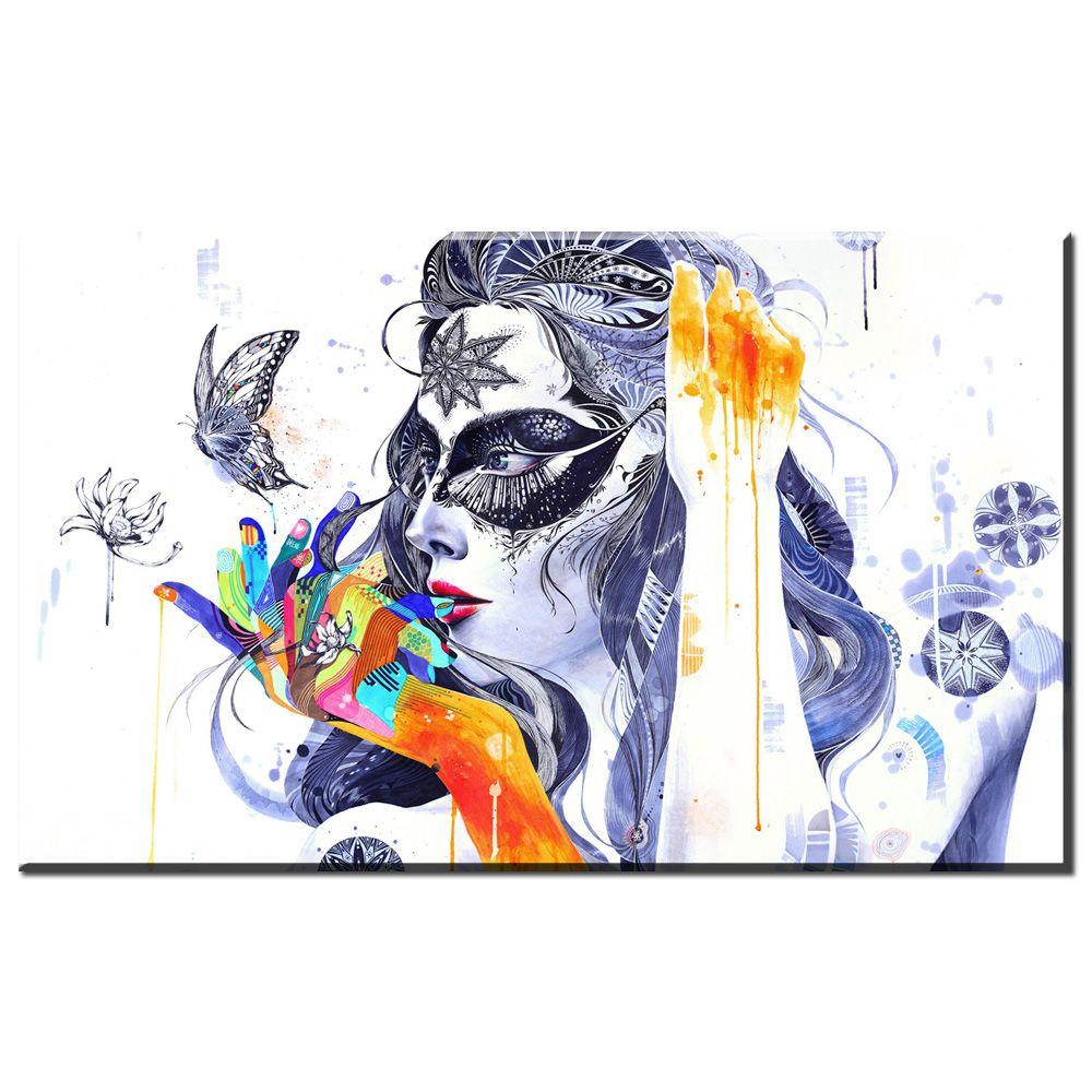 ZZ707 acuarela lienzo poster y grabados de arte hermosa niña mariposa lienzo cuadros abstractos pintura al óleo para el hogar decoración