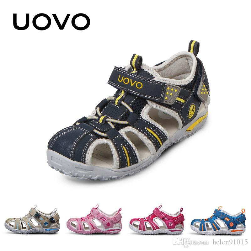 bc98a07f77673 UOVO Brand 2019 Summer Beach Kids Shoes Closed Toe Sandals For Boys And  Girls Designer Toddler Sandals For 4 15 Years Old Kids Shoes For Childrens  Cheap ...