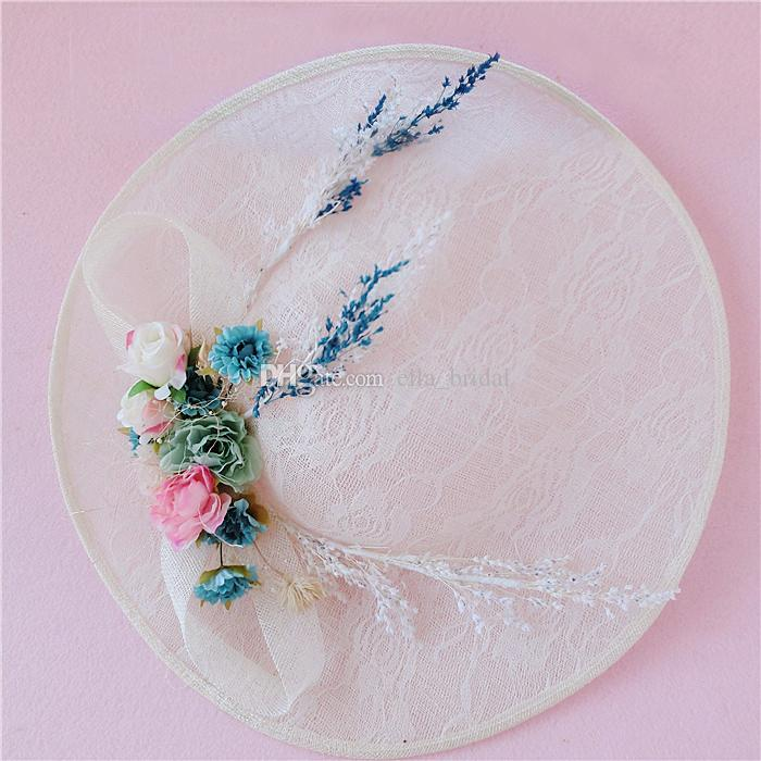 Romantic Bridal Hat Floral Tulle Linen Lace Garden Wedding Hair Accessory Bride Mother Special Occasion Party Photo Hats Hot