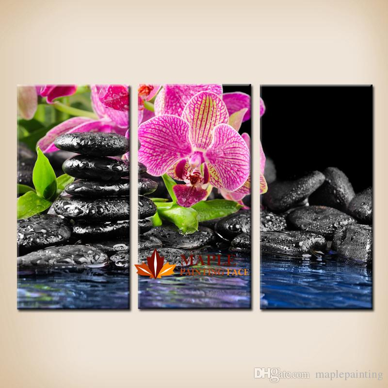 2018 Cheap Canvas Wall Art Botanical Green Feng Shui Orchid Large ...