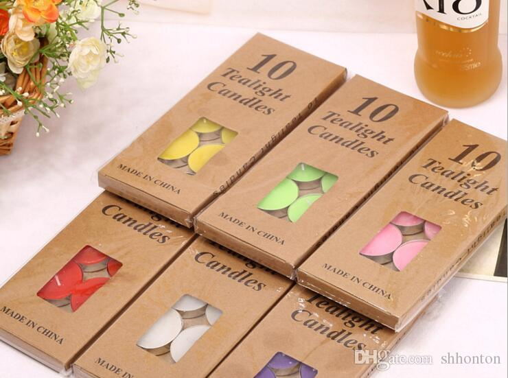 package Candle Favors TEALIGHTS CANDLES Colored candle kraft paper box DIY candle Valentine's day romantic love swing chart WQ04