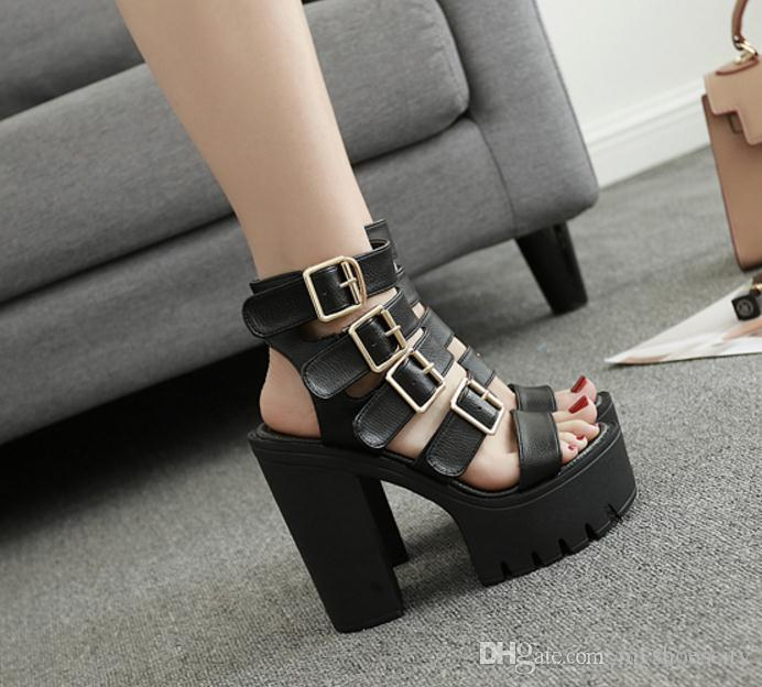 ac65c230786 Fashion Women Buckles Thick Platform Chunky High Heels Gladiator Sandals  Size 35 To 39 Mens Sandals Reef Sandals From Myshoescity