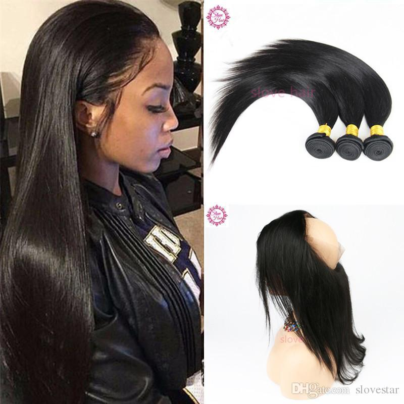 360 Lace Frontal Closure Straight Brazilian Human Hair Weaves 9a
