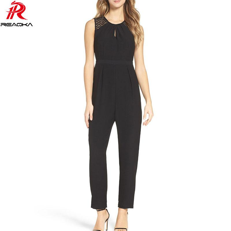 81facc7775d Reaqka Sexy Women Summer Sleeveless Jumpsuits Rompers Casual Lace ...