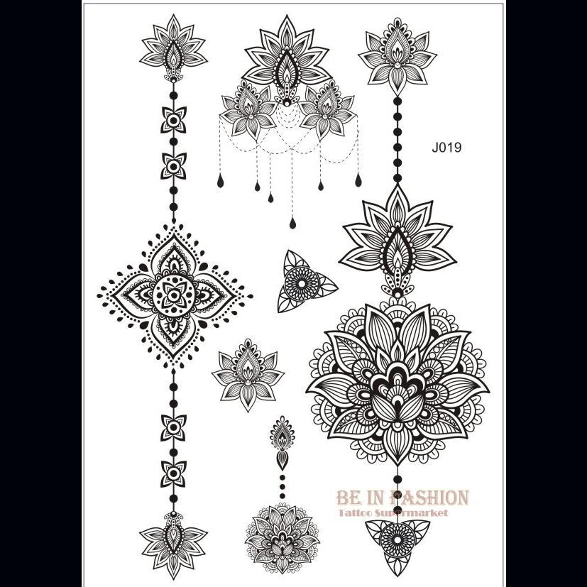 Bh1704 1 Piece Black Henna Cuff Tattoo With Flower Wrist: Wholesale One Piece Arabic Designs Lace Flash Tribal Black