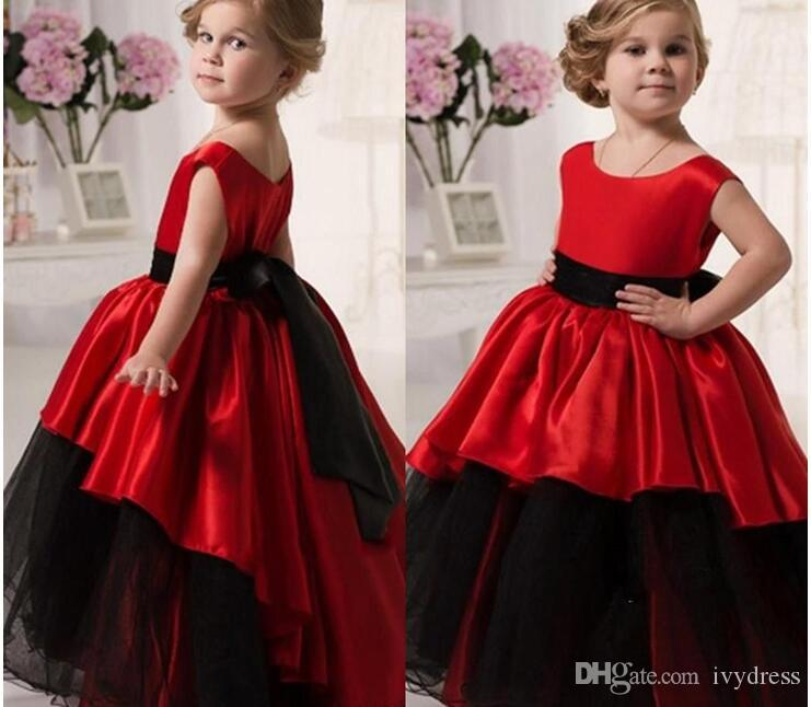 Red And Black Flower Girls Dresses To Wedding Party Jewel