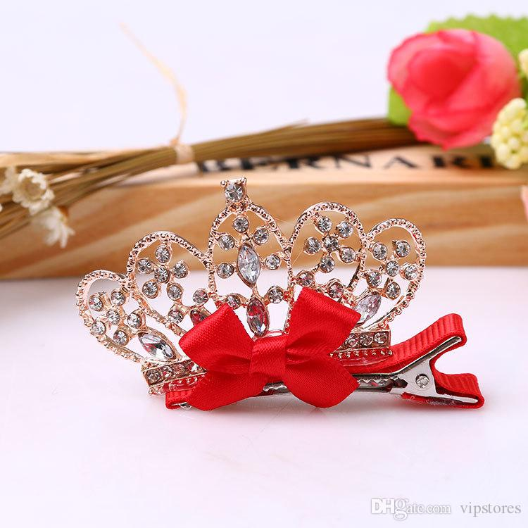 Korean princess flower crown hair clips diamond crown barrettes baby hair bows girls crystal bowknot crown hair clip pin accessories for kid