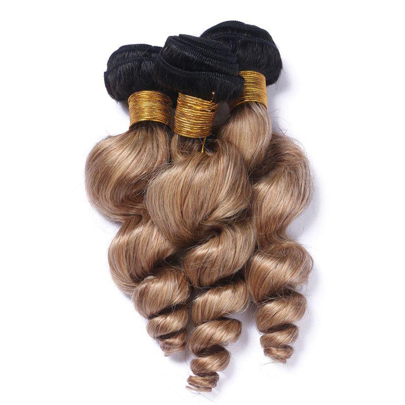 Ombre Loose Weave Ombre Raw Indian Virgin Hair 3 Bundles Loose Wave Blonde Human Hair Bundles 1B/27 Two Tone Hair Weave