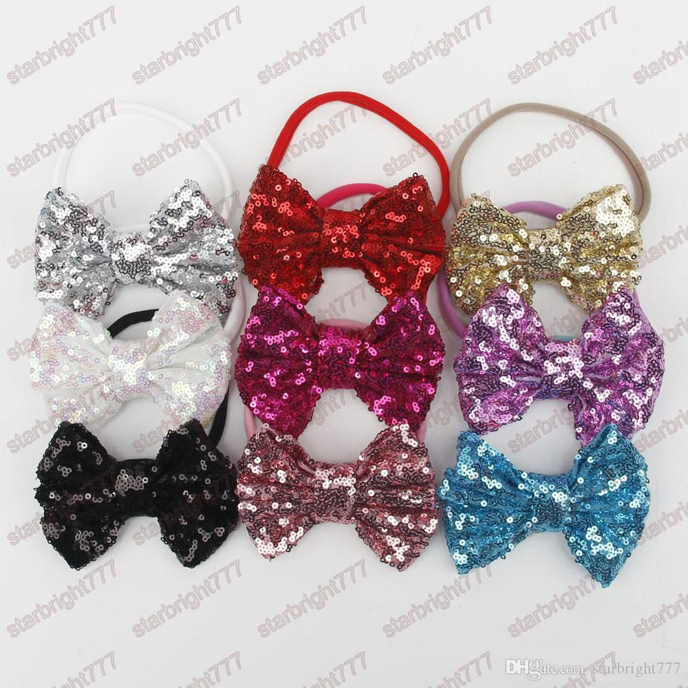 New Baby girls Shine Sequin bowknot Headband Children girls Bow hair bands Photography Props Hair Accessories For Baby Gift