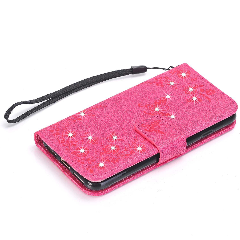 غطاء حقيبة جلد بفتحة بطاقات لهواتف ايفون 5S و 6 S و 6 S بلس و 7 بلس و 8 Iphone X