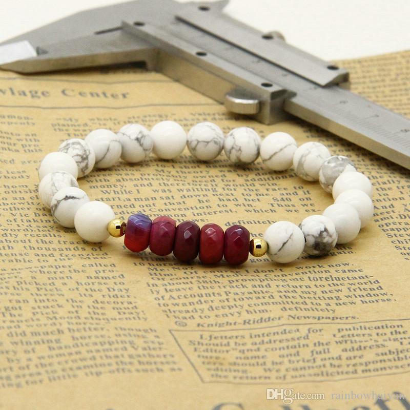Paare Armband Stile Großhandel 5 Satz / Los 8 mm Matt Achat Weiß Howlith Stein mit Feuer Perlen Abstand Armbänder für Liebhaber