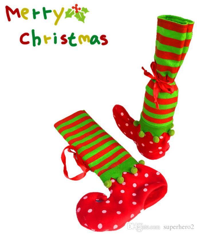 Christmas Elf Socken Candy Geschenke Tasche Tote Sweet Stocking Füller Weihnachtsbaum Dekor Weinflasche Abdeckung schmücken festliche Lieferungen