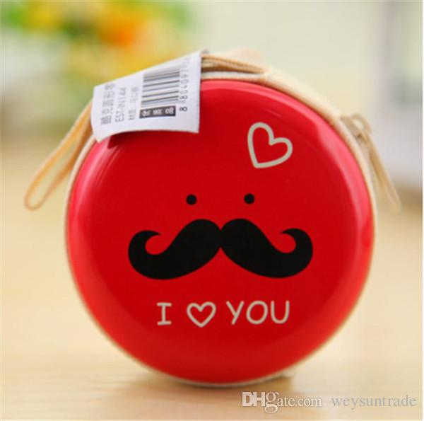Cartoon Cute Big Beard Face Designs Round Portable Storage Box For Earphone Wire/Electric Wire