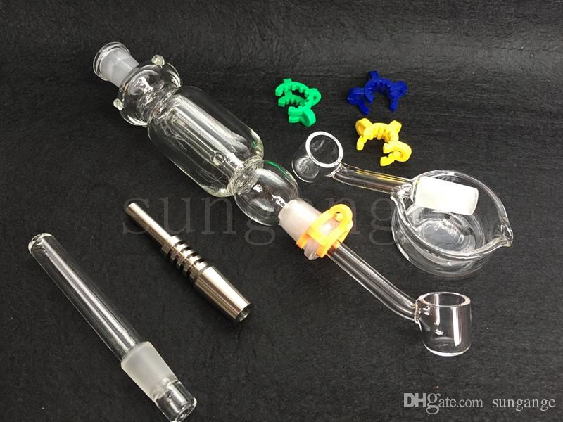 Newest glass pipes Set with 14 mm Titanium Tip & Quartz Tip Quartz Nail Glass Dish Oil Rig Concen trate Dab Straw
