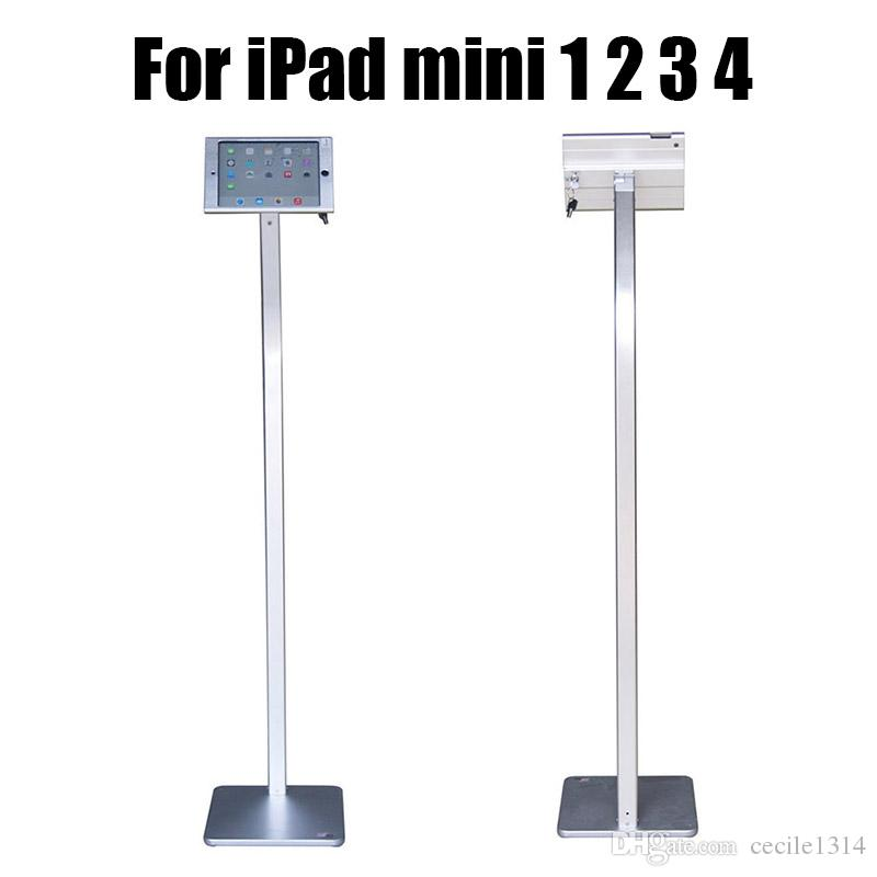 New Aluminum ipad floor stand tablet security lock case tablets display housing support retail anti theft rack for Ipad mini 1/2/3/4