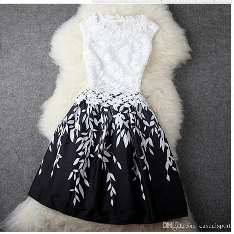 Kadın Elbise Yaz Elbiseler Dantel Günlük Elbiseler Baskı Kolsuz T-shirt Moda Etek Mini Vintage etekler Düğün Artı boyutu Elbiseler