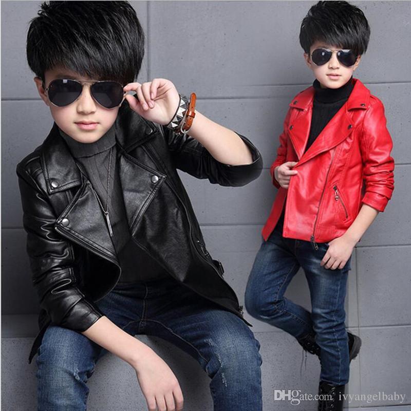 ab1d7d2cafcf Big Kids PU Leather Jacket Children S Classic Style Lapel Neck Slim ...