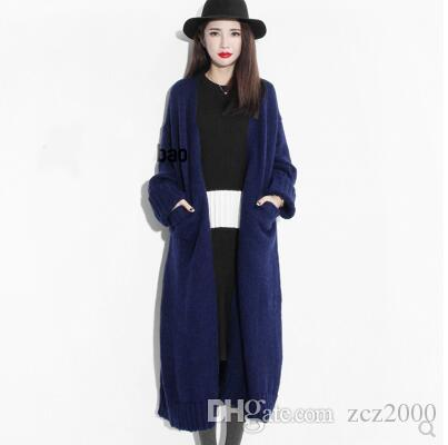 2018 2017 New Winter Long Thick Sweater Coat Color Female Fashion ...