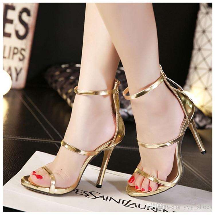 ace8fdea867 Wedding Prom Party Womens Shoes Open Toes Shoes Summer Sandals Graduation  Dance High Heels Shoe Buckle Strap Thin Heel 11 Cm Zipper Strappy Sandals  Skechers ...