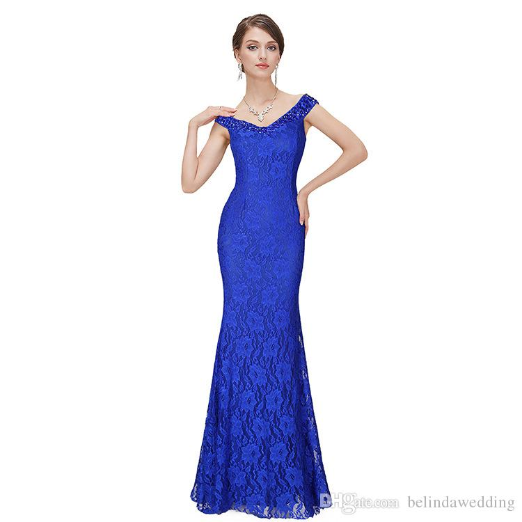 Cheap Prom Formal Dresses Long Evening Wear Royal Blue Gowns Sleeves ...