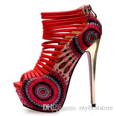 Étnico impresso oco out peep toe plataforma sapatos sexy bombas de salto alto garnet red party dress shoes ankle bootie 2 cores szie 34 a 39.