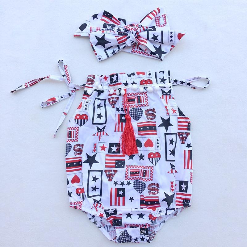 Patriotic Baby Clothes Stars Printed Pillow Baby Girls Bodysuit Big Bow Headband Girls Bodysuit Set 4th Of July Baby Playsuit