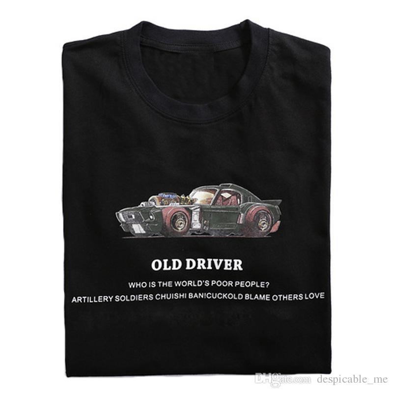 Algodón de coches Imprimir Camisetas HOMBRE 2020 Hip moda de verano de algodón Streetwear Hop camisetas ocasionales Tops T-Homme para el varón