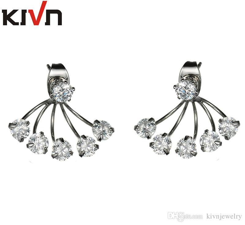 KIVN Fashion Jewelry CZ Cubic Zirconia Bridal Wedding Stud Ear Earring Jackets for Women Mothers Day Birthday Christmas Gifts