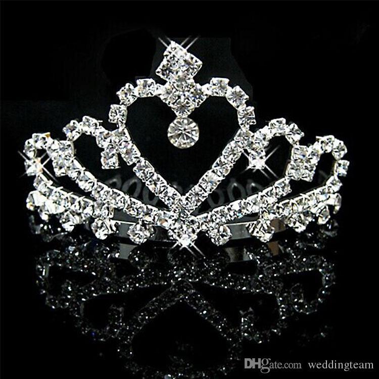 Glänzende Silberkristalle Hochzeit Diademe Perlen Brautkronen Strass Kopfschmuck Stirnband Günstige Haarschmuck Pageant Tiara
