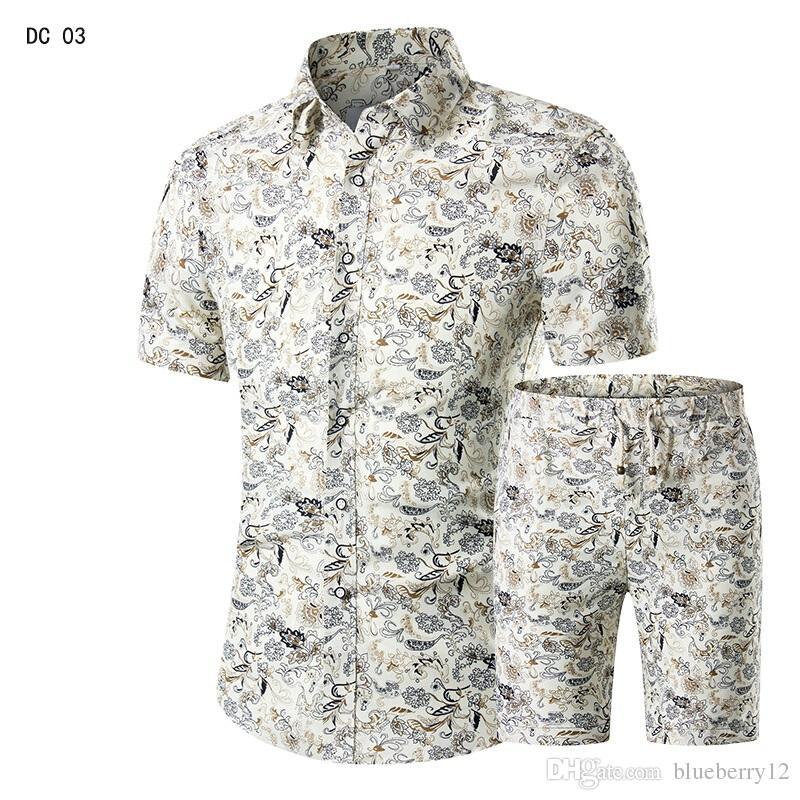 Erkekler Gömlek + Şort Set Yeni Yaz Rahat Baskılı Hawai Gömlek Homme Kısa Erkek Baskı Elbise Takım Elbise Setleri Artı Boyutu