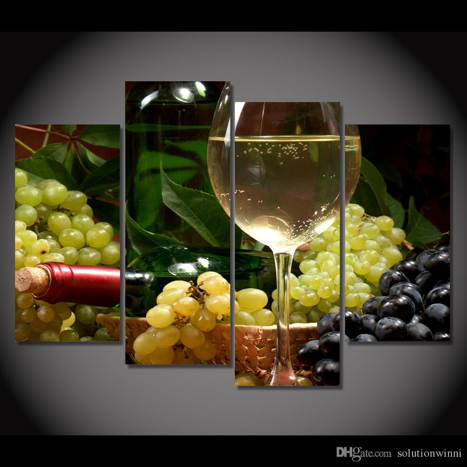 2019 Canvas Painting Canvas Art White Wine Grapes Fruits Hd Printed