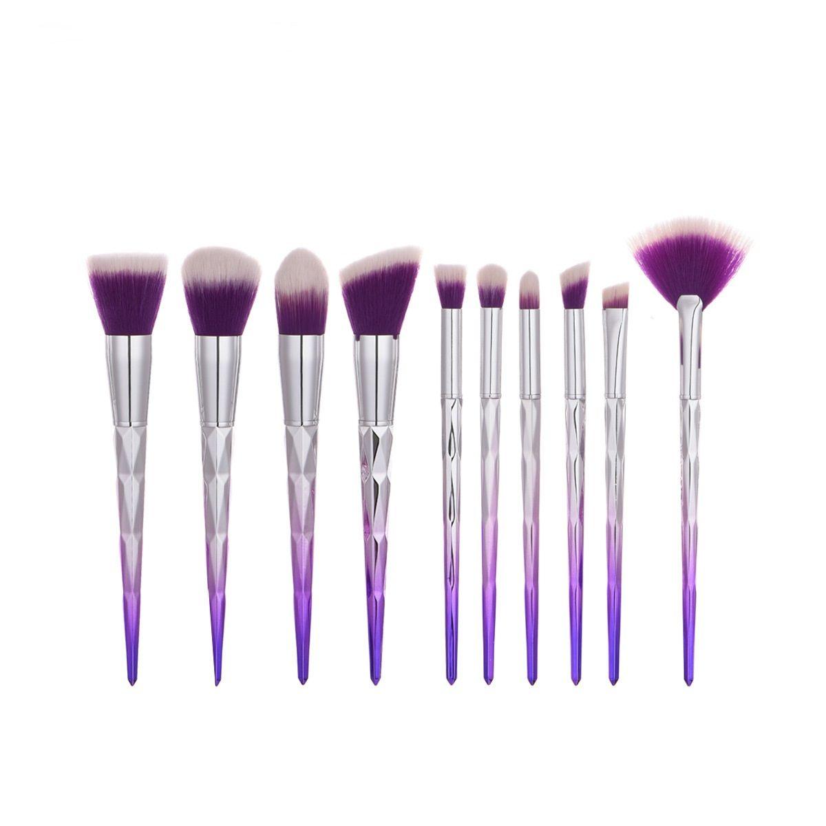 Set de cepillos de maquillaje de sirena 10 unids Profesional Forma de diamante Pinceles Sombra de ojos Colorete en polvo Mezcla Cosmética Maíz Forma Kit de cepillo
