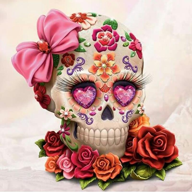 Skull Flower Full Drill DIY Mosaic Needlework Diamond Painting Embroidery Cross Stitch Craft Kit Wall Home Hanging Decor