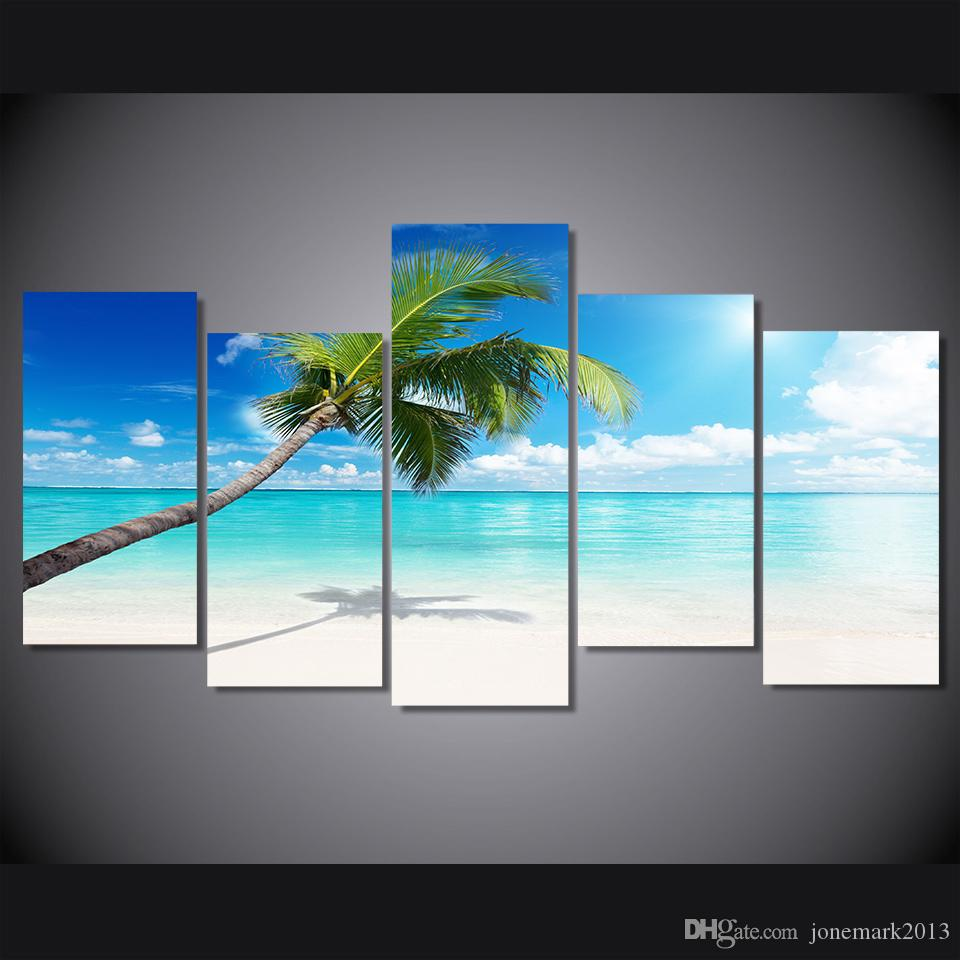 5 Pcs/Set Framed HD Printed palm tree beach picture Painting wall art room decor print poster picture canvas Free shipping/ny-604