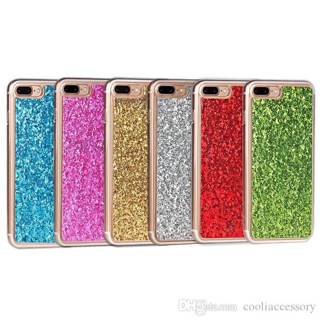 Bling Glitter Soft TPU Case For Iphone 8 7 Plus I7 6 6S Samsung Galaxy S9 PLUS J2 J1 A3 A5 2017 Sparkle Cell phone Skin Cover Fashion