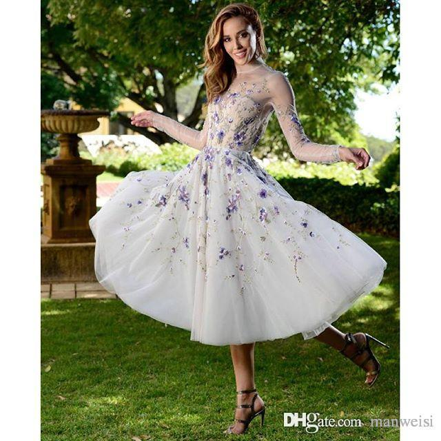 Paolo Sebastian Vinatge Prom Dresses Long Sleeves Flower Embroidery Tea Length Party Evening Gowns High Neck Short Homecoming Dress