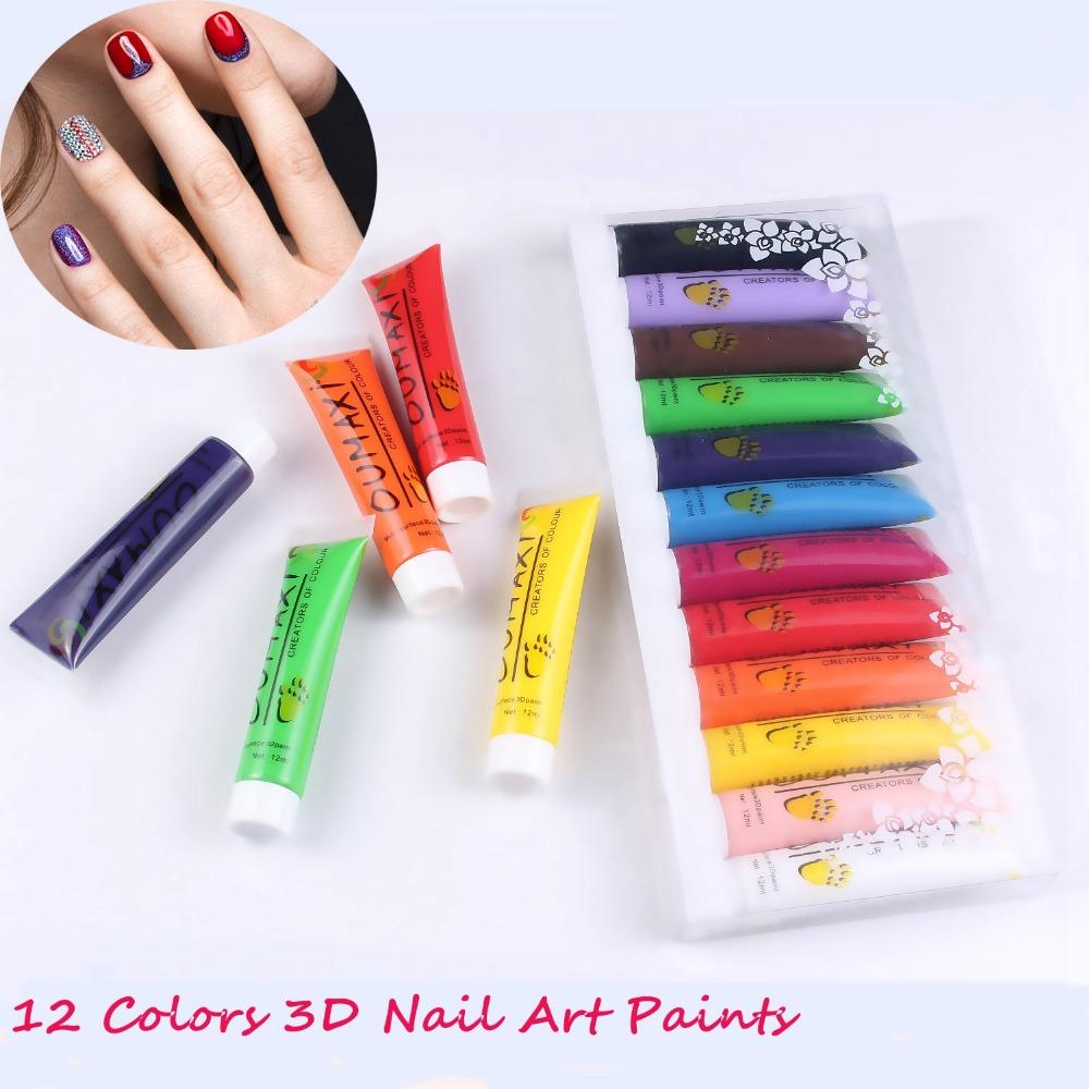 Oumaxi Acrylic Paint Nail Art Polish 3d Paint Decor Design Tips Tube ...