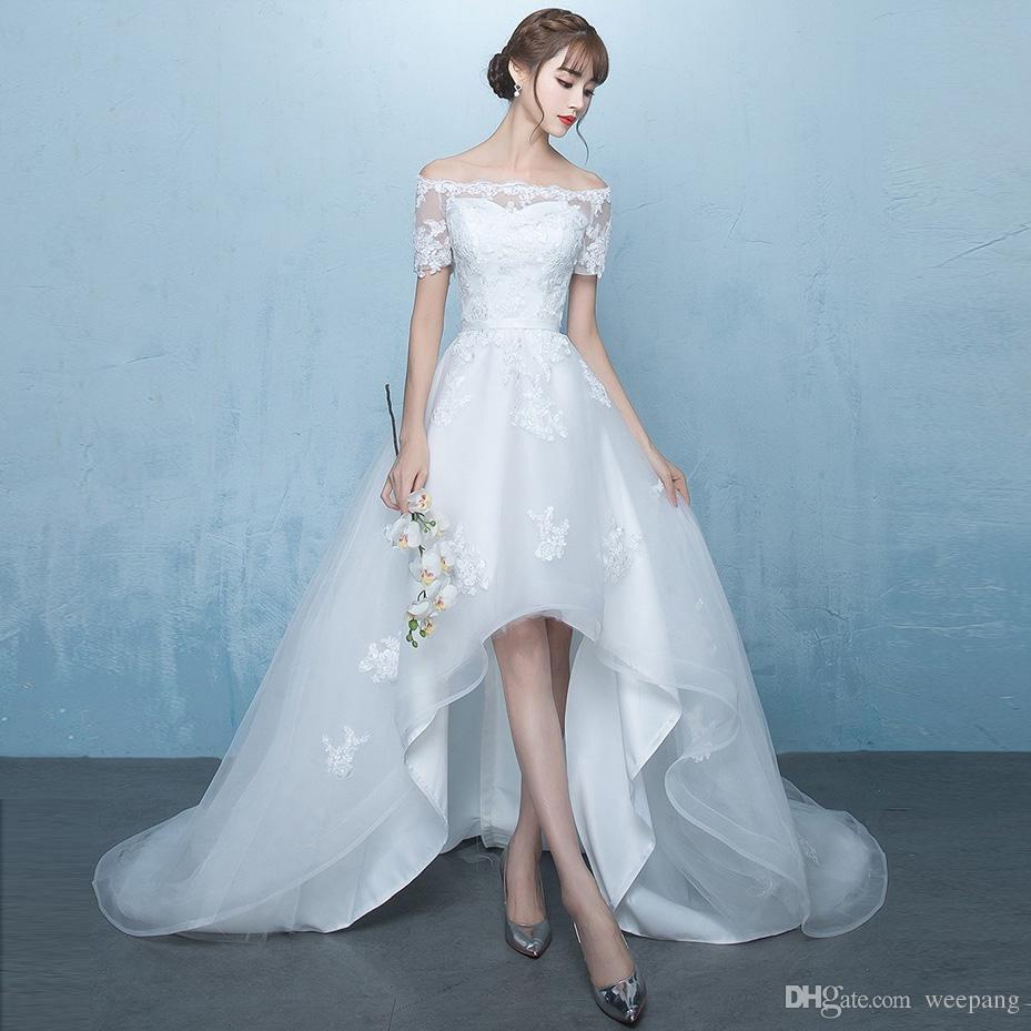 Discount Off The Shoulder Elegant High Low Wedding Dresses A Line ...