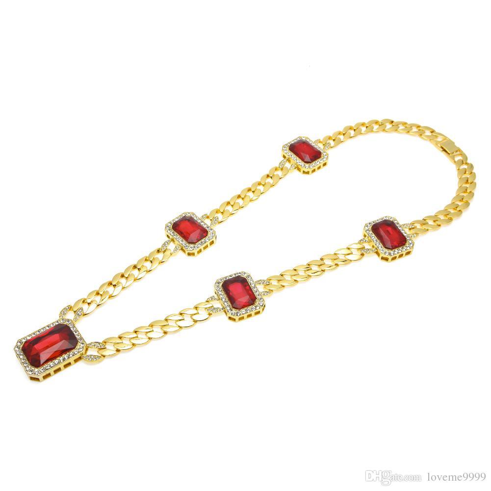 Преувеличенные кубинская цепь с большой красный CZ камень кристаллы ссылка ожерелье хип-хоп Bling обледенелый Красный горный хрусталь Ожерелье для мужчин Wome
