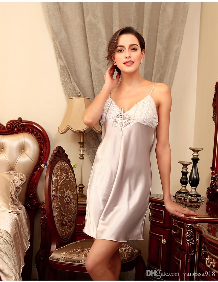 fa5b5a6fd56ac Sexy Lingerie Women s Sleepwear Satin Nightgown Silk Chemise Slip Lace Sleepwear  Sleep Wear Nightgowns Sleepshirts SJYT24 Satin Nightgowns Sleepwear Female  ...