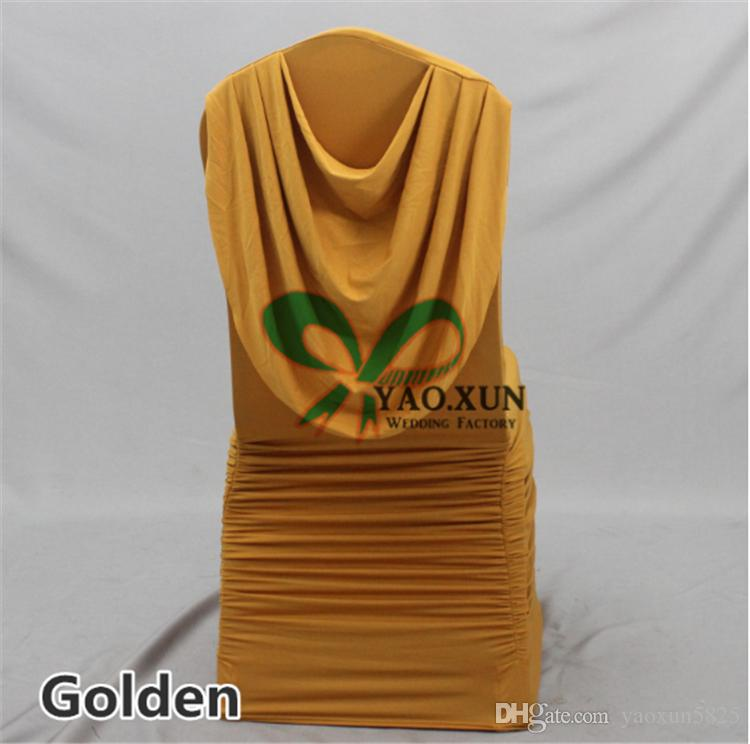 GOLD Color Ruffled Lycra Spandex Chair Cover Back With Swag Drape Decoration