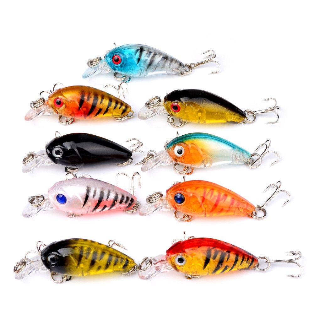 9 шт. / лот 9 цветов смешанные 3D глаза кривошипно пластиковые жесткие приманки приманки 4.5 см 4g 10# рыболовные крючки BL_21
