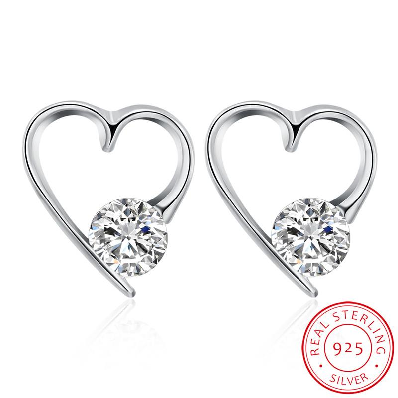 661ae278d4 Simple Design Fancy Shiny Zircon Crystal Heart Shape Stud Real Silver  Earring For Gift Free Shipping